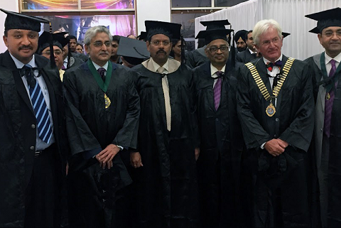 At the ICD Convocation- President Dr. S.M. Balaji, President Elect Dr. Rajesh Chandna, Prof. (Dr.) Arun Jamkar, Hon'ble Vice-Chancellor, Maharashtra University of Health Sciences, Dr. A. Kumar Swamy, Dr. Phillip Dowell & Dr. Rajiv Chugh