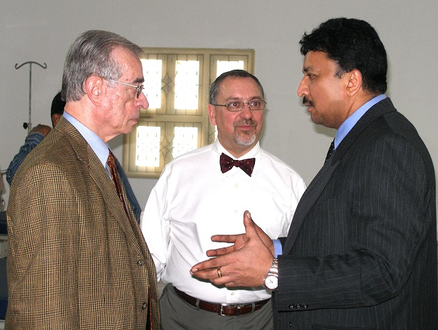 Dr. S. M. Balaji welcoming Dr. David Preble, Director, Commission on Dental Accreditation, American Dental Association