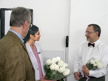 Dr. Preble and Dr. Robbins being welcomed by Dr. Prashanti, Senior Dental Surgeon