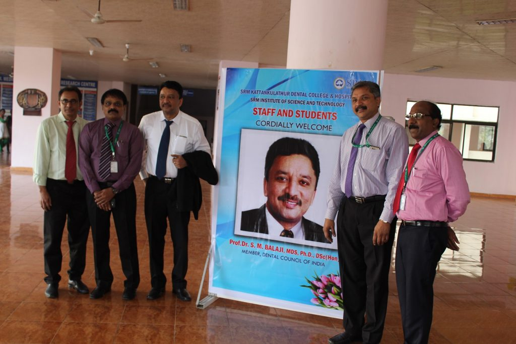 Dr S M Balaji with the dean and other senior faculty members of SRM Institute of Health Sciences, Kattankulathur, at the conclusion of the function