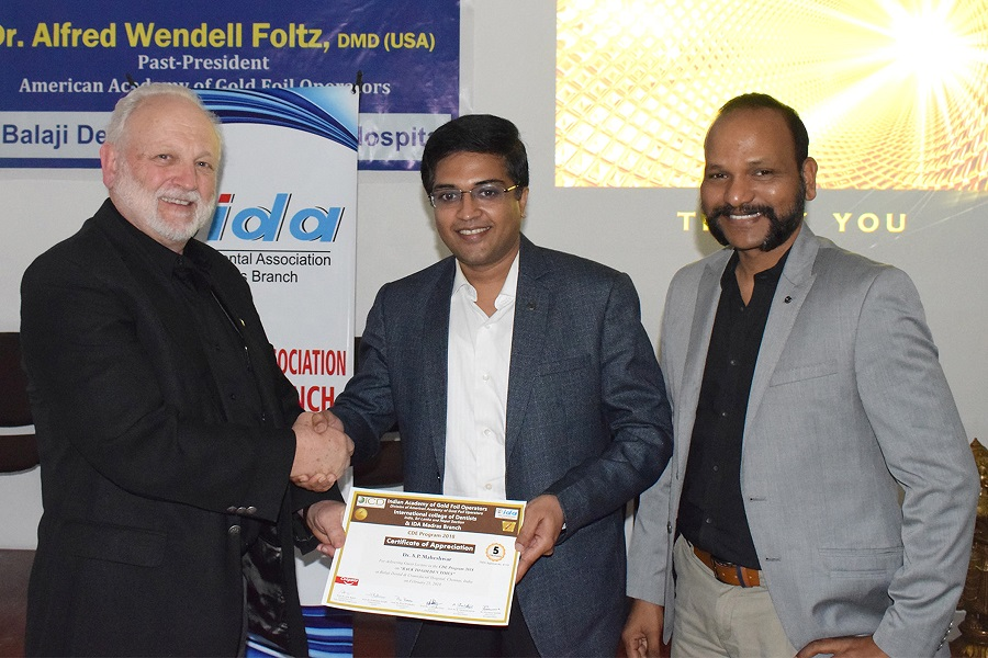 Prof. Foltz Presenting A Certificate Of Appreciation To Dr. A.p. Maheshwar, Immediate Past President, Indian Dental Association-Madras Branch, One Of The Faculty At The Program