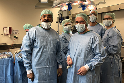 Prof S M Balaji with Prof Nikolai Adolphs before commencement of a surgery in the Operating Room at the Charite Universitatsmedizin Berlin