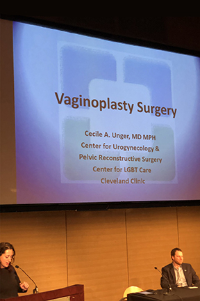Dr Cecile Unger, Female Pelvic Reconstruction Surgery Specialist, Cleveland Clinic, during her presentation on vaginoplasty and penile inversion surgery