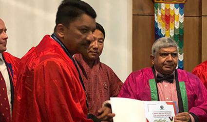 Dr S M Balaji being conferred the Craniofacial Research Fellowship Award
