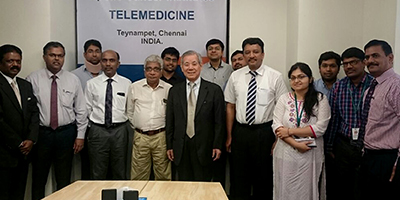 Prof SM Balaji and Dr Shimoji with Dr Balamurugan, Dr Samuel J K Abraham and others at the interactive session. This was for the SCYLIMIT organized at Apollo Cancer Institute, Chennai.