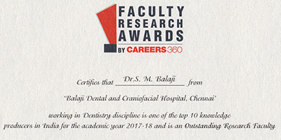 outstanding research faculty award dr sm balaji