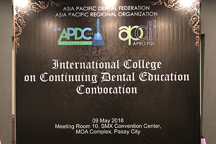 The International College of Continuing Dental Education Convocation was held at Manila, Philippines