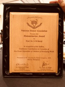 The Humanitarian Award conferred upon Prof SM Balaji