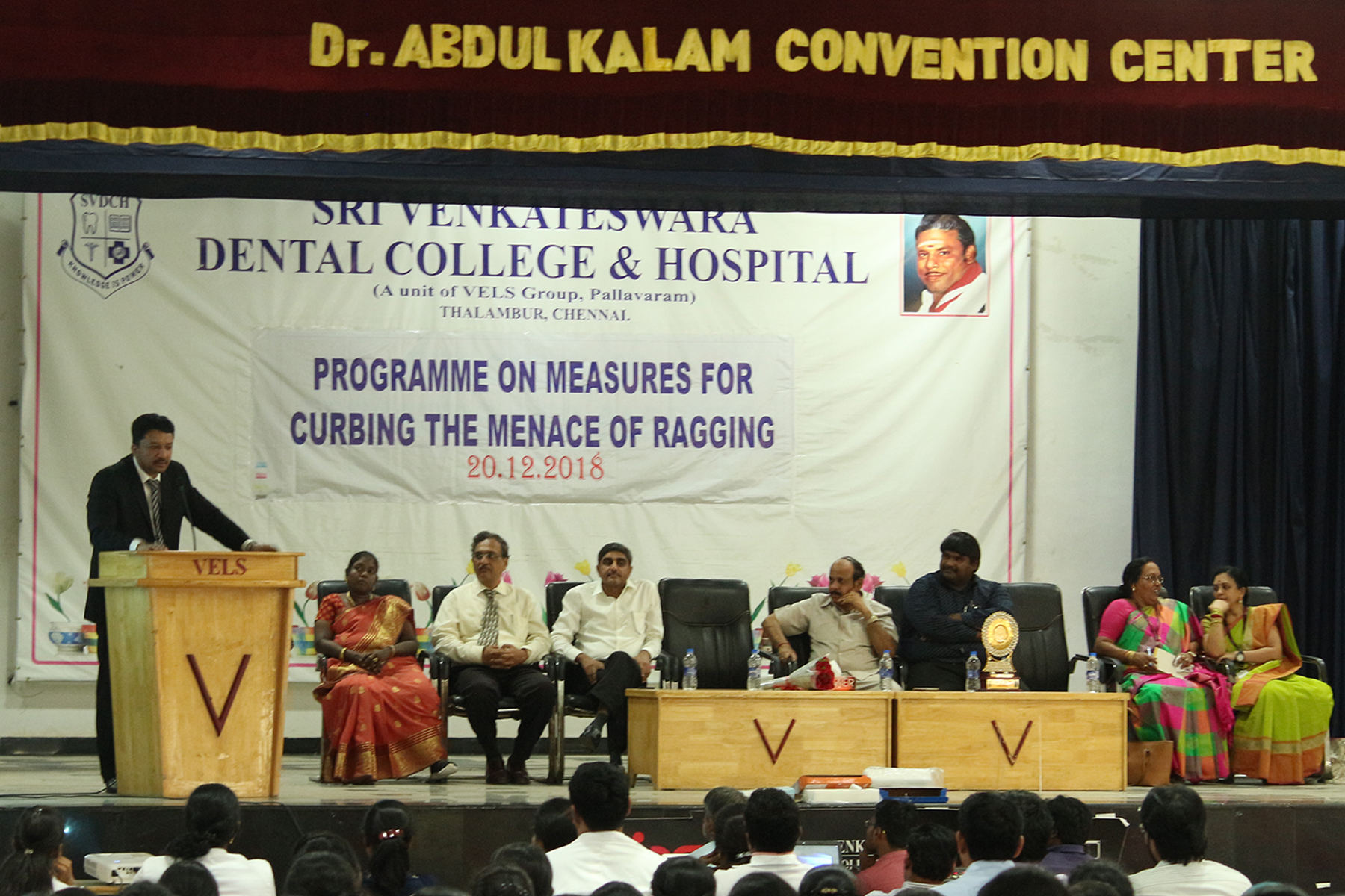 Dr Sm Balaji Addressing The Students About The Evils Of Ragging