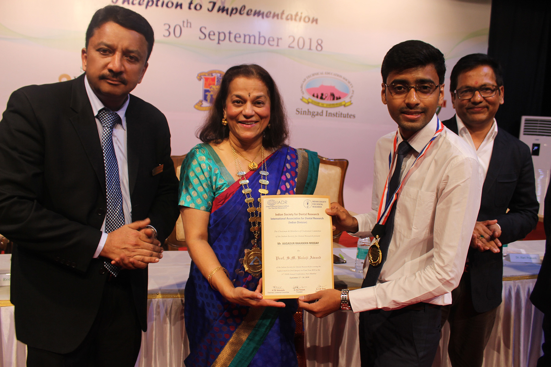 A certificate of appreciation presented to a student delegate
