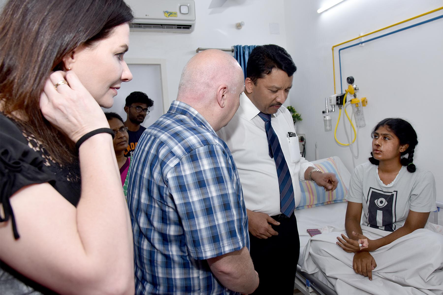 Visitors meet patients