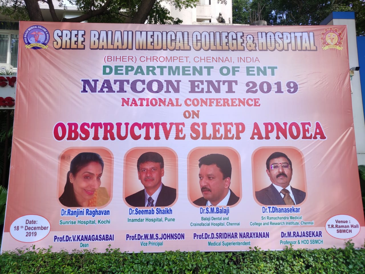 National Conference on Sleep Apnea NATCON ENT 2019 organized by Department of ENT Surgery, Sree Balaji Medical College and Hospital