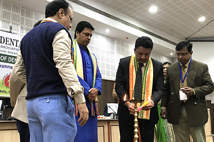 Dr Sm Balaji Lighting The Ceremonial Lamp To Inaugurate The Conference As His Excellency Biplab Kumar Deb Looks On