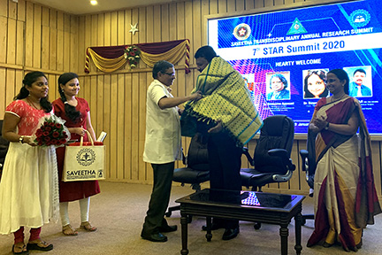 Dr SM Balaji being honoured with the traditional shawl at the 7th Saveetha STAR Summit
