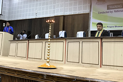 Dr Sm Balaji Looks On As The Chief Minister Of Tripura, His Excellency Biplab Kumar Deb Addressing The Audience