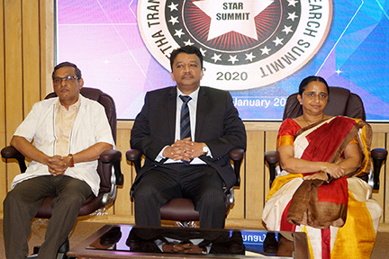 Dr SM Balaji seated on the dais at the commencement of the STAR Summit in Saveetha Dental College