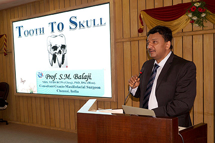 "Dr SM Balaji delivers the keynote lecture on the subject of ""Tooth to Skull"" at the 7th Saveetha STAR Summit"