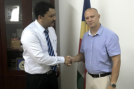 Dr SM Balaji with His Excellency Jean Paul Adam, Hon'ble Health Minister of Seychelles during his recent visit to the island nation