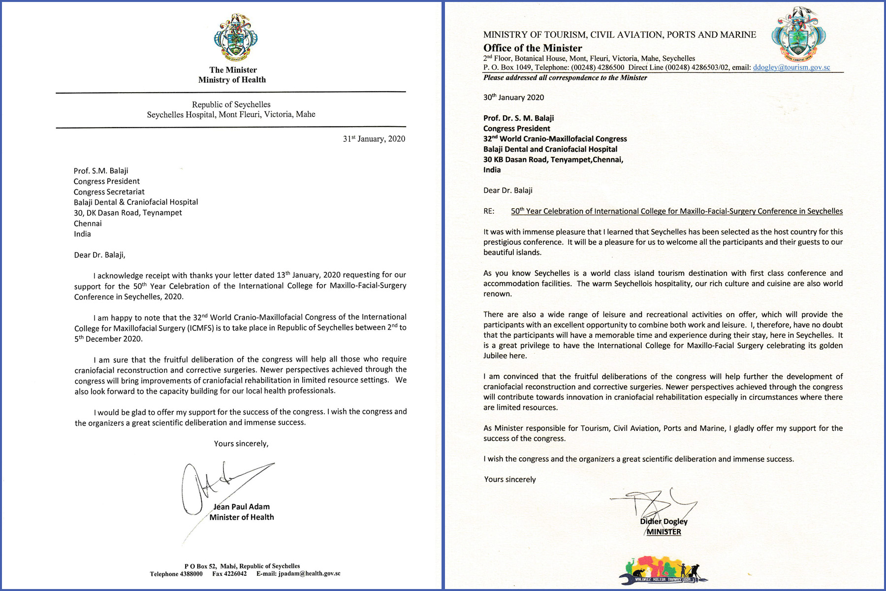 Letters of support for the Congress provided by the Hon'ble Ministers of the Republic of Seychelles